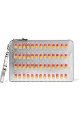 Moschino Embellished Metallic Faux Leather Clutch Silver
