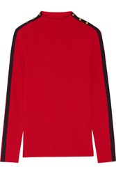 Tory Burch Sardy Striped Ribbed Wool Turtleneck Sweater Red