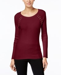 Inc International Concepts Petite Laced Shoulder Sweater Only At Macy's Deep Twilight