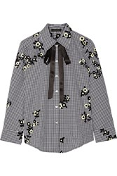Marc Jacobs Pussy Bow Flocked Gingham Cotton Poplin Shirt Black