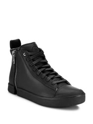 Diesel Laced Leather High Top Sneakers Black