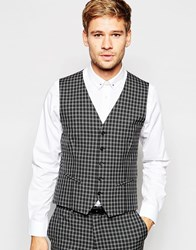 Selected Homme Exclusive Tonal Check Tuxedo Waistcoat In Skinny Fit Grey