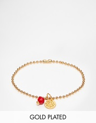 Mirabelle Gold Plated Ball Chain Bracelet With Coral Goldcoral