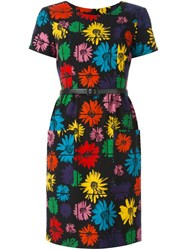 Moschino Belted Floral Dress Black