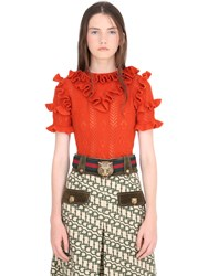 Gucci Frilled Wool Cropped Sweater