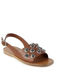 Prada Jeweled Leather Flat Sandals Brandy
