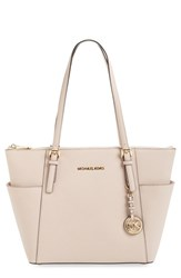 Michael Michael Kors 'Jet Set' Leather Tote Pink Ballet Gold