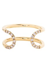 Mociun Women's 'Pave Loop' Diamond Open Ring Yellow Gold