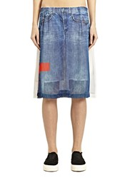 Preen Line Estelle Denim Print Skirt Black