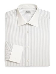 Charvet Striped Cotton Dress Shirt Beige