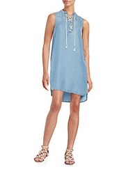 Beach Lunch Lounge Lace Front Sleeveless Chambray Dress Medium Blue