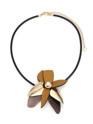 Marni Leather And Horn Flower Pendant Necklace