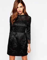 Arrogant Cat High Neck Embellished Mesh Dress Black