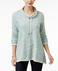 Styleandco. Style Co. Petite Marled Funnel Neck Sweatshirt Only At Macy's Green Nectar