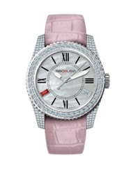 Red8usa Scandal Automatic Crystal Mother Of Pearl Stainless Steel And Alligator Embossed Rubber Intercha Silver Pink