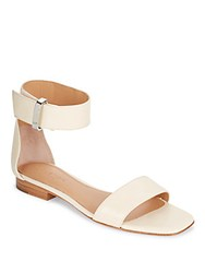 Halston Leather Flat Ankle Strap Sandals Peach