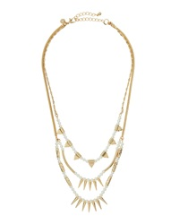 Lydell Nyc Golden Triple Layer Pearly Spike Necklace