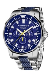 Akribos Xxiv Men's Stainless Steel Divers Chronograph Watch Metallic