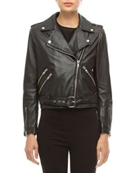 Walter Baker Allison Leather Long Sleeve Moto Jacket Black