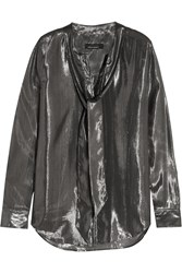 Kate Moss For Equipment Slim Signature Silk And Lurex Blend Shirt Gunmetal Silver