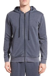 Daniel Buchler Men's Washed Cotton Blend Zip Hoodie Midnight