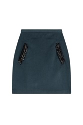 Steffen Schraut 5Th Avenue Embellished Wool Skirt Green