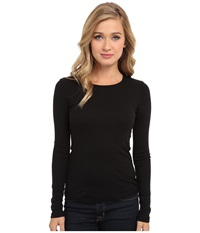 Splendid 1X1 Rib L S Crew Neck Tee Black Women's Long Sleeve Pullover