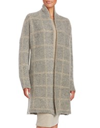 Eileen Fisher Petite Plaid Wool Blend Cardigan Grey