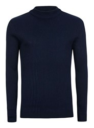 Topman Blue Navy Ribbed Turtle Neck Slim Fit Sweater