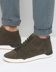 Boss Orange By Hugo Suede High Top Trainers Grey