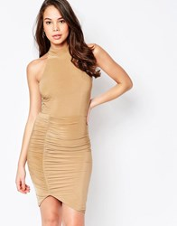 Ax Paris High Neck Midi Dress With Ruching Camel Beige