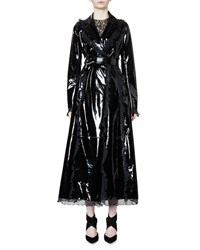 Lanvin Belted Patent Leather Trench Coat W Ruffle Trim Black Women's