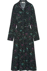 Topshop Unique Tempus Belted Printed Silk Crepe De Chine Midi Dress Forest Green