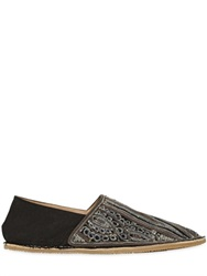 Dries Van Noten Embroidered Cotton Canvas Slip On Shoes