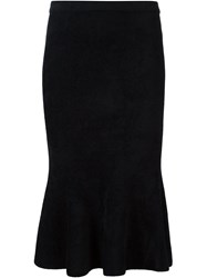 Grey Jason Wu Peplum Hem Fitted Skirt Black