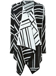 Salvatore Ferragamo Diagonal Stripe Cardi Coat Black