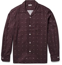 Camoshita Slim Fit Camp Collar Printed Twill Shirt Merlot