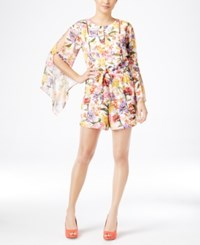 Thalia Sodi Floral Print Bell Sleeve Romper Only At Macy's