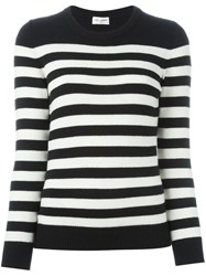 Saint Laurent Striped Boyfriend Sweater Black