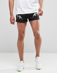 Hype Retro Shorts In Souvenir Print Black