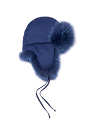 Fendi Micro Logo Fox Fur Lined Trapper Hat