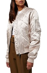 Topshop Women's Shiny Quilted Bomber Jacket Pink