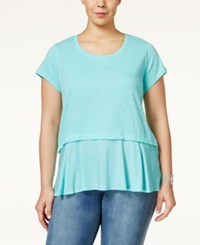 Styleandco. Style And Co. Plus Size Short Sleeve Flounce Hem Top Only At Macy's