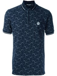 Dolce And Gabbana Floral Print Polo Shirt Blue
