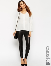 Asos Tall Leather Look Leggings With Elastic Slim Waist Black