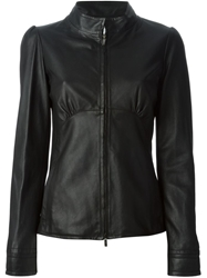 Armani Collezioni Leather Jacket Black