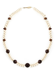 Yves Saint Laurent Vintage Bead Long Sautoir Necklace White