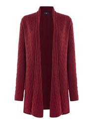 Gant Cable Knit Wrap Cardigan Dark Red