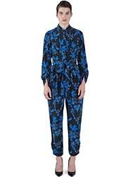 Stella Mccartney Floral Print Silk Jumpsuit Black
