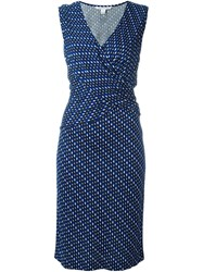 Diane Von Furstenberg Chiffon Wrap Dress Blue